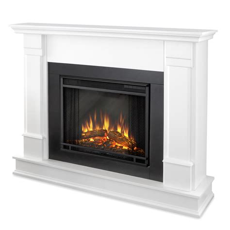 Electric Fireplace Logs Real Silverton Electric Fireplace In White