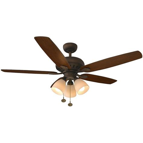 rubbed bronze ceiling fan light kit hton bay rockport 52 in indoor rubbed bronze