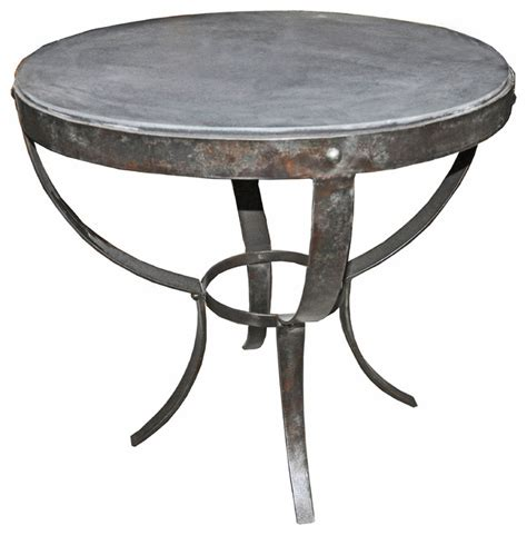 industrial accent table logan industrial rustic metal stone top round side table