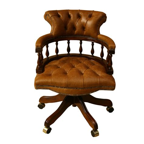wood and leather swivel desk chair inadam furniture captains chair choice of leather