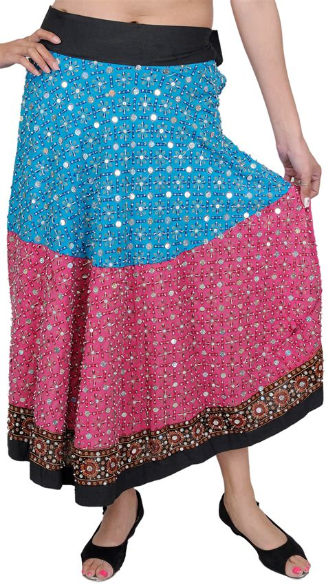 beadwork pink blue and pink skirt with beadwork