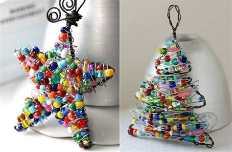 DIY Christmas Ornaments Using Wire and Colorful Beads