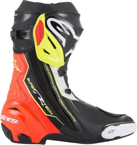 mens motorcycle racing boots mens alpinestars pair supertech r black yellow red