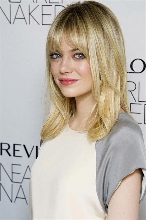 medium straight hairstyles with bangs emma stone medium length straight hair with bangs and