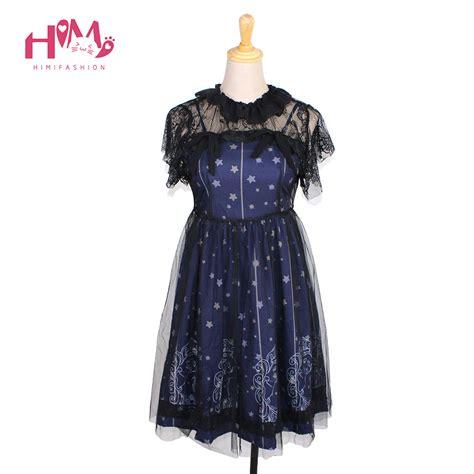 pattern gothic dress sky constellation gothic lolita dress vestidos dark blue