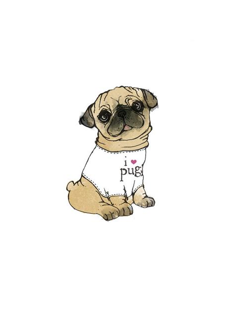 pug illustration i pugs illustration print by bryony fripp notonthehighstreet