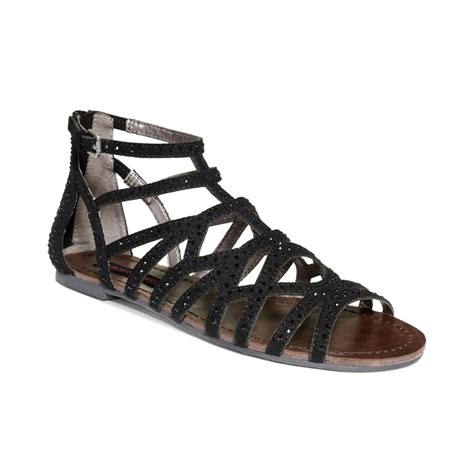 girls sandals c material girl aries gladiator flat sandals in black lyst