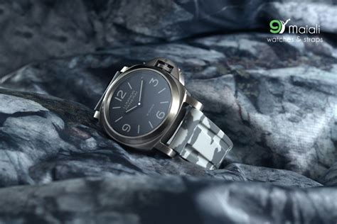 Panerai Black Camouflage Rubber horus snow camouflage rubber straps with brushed silver buckle for panerai