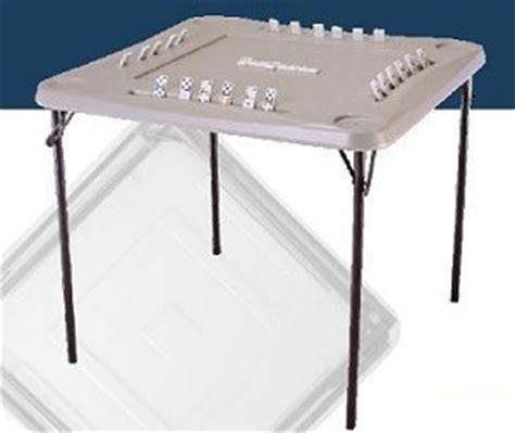 so almond folding square domino card table 2492 lifetime 34 in