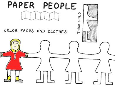 How To Make A Paper Person Chain - best photos of paper cut out pattern boy and