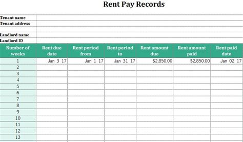 Rent Pay Records My Excel Templates Rent Collection Spreadsheet Template
