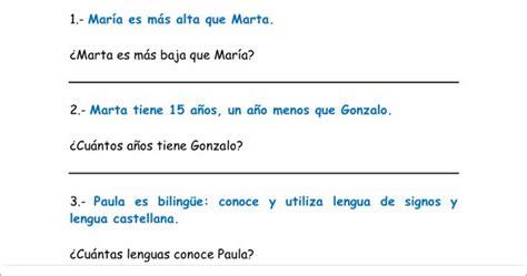 ejemplos de preguntas inferenciales para primaria 20 textos cortos con preguntas comprensi 243 n inferencial