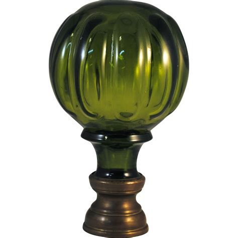 Glass L Finial by Olive Green Glass Newel Post Finial From Hazenhoward On