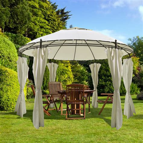 Vidaxl Co Uk Vidaxl Round Gazebo With Curtains 3 5 X 2 7 M