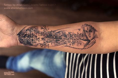 trash style mrityunjaya mantra tattoo by allan gois at