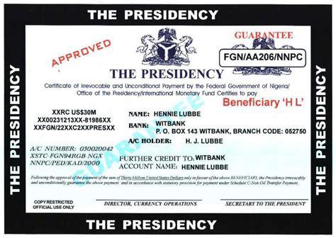 snopes nigerian 419 scam nigerian fraud 419 exle certificates