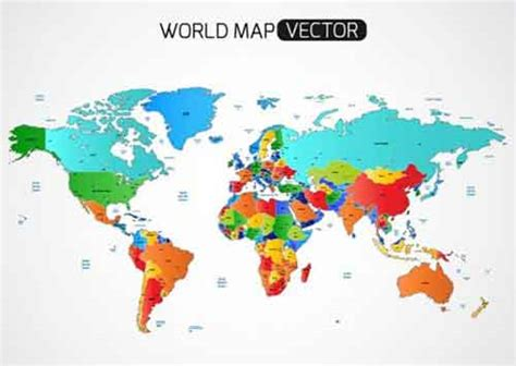 illustration of world map with country name vector world map files for free