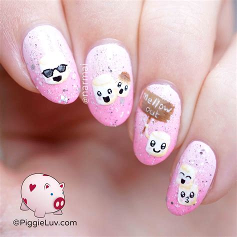 tutorial nail art kawaii piggieluv kawaii marshmallows nail art