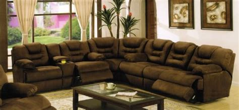 sectional recliner sofa with cup holders in chocolate microfiber sectional recliner sofa with cup holders in chocolate