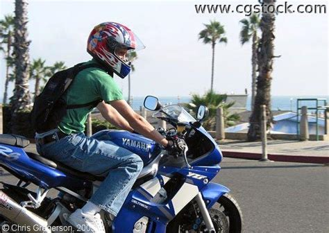Pch Oceanside - stock photo man on a motorcycle pch oceanside california