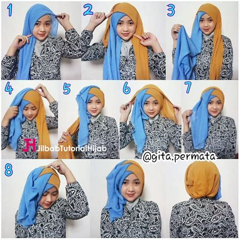 tutorial jilbab simple wisuda tutorial hijab segi empat 2 warna untuk wisuda dan lebaran