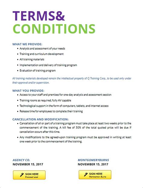 terms and conditions template template standard business terms and conditions template