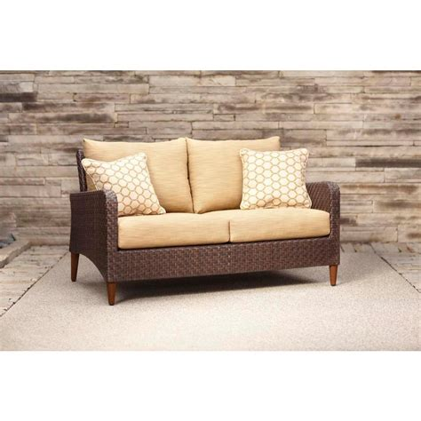 Barley Pillow by Brown Marquis Patio Loveseat With Toffee Cushions And Tessa Barley Throw Pillows Stock