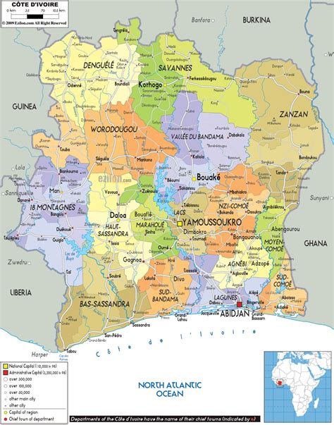 cote d ivoire africa map large political and administrative map of ivory coast with