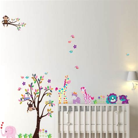 nursery tree wall stickers uk colorful tree animals nursery wall sticker vinyl wall decals