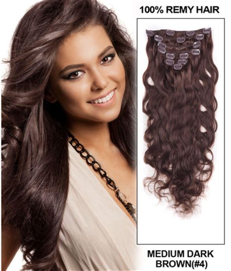 20 inch 4 medium brown 20 inch 155g 4 medium brown clip in indian remy human