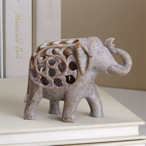 carved elephant totem decor wholesale at koehler home decor accents double carved gorara elephant