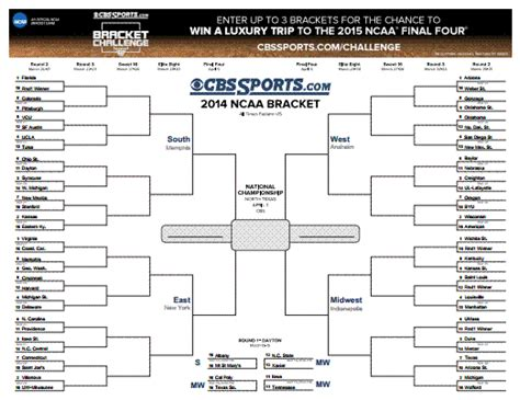 ncaa college basketball schedule cbssportscom print out march madness ncaa brackets for 2014 tournament