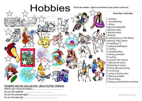 hobbies com hobbies list with drawings worksheet free esl