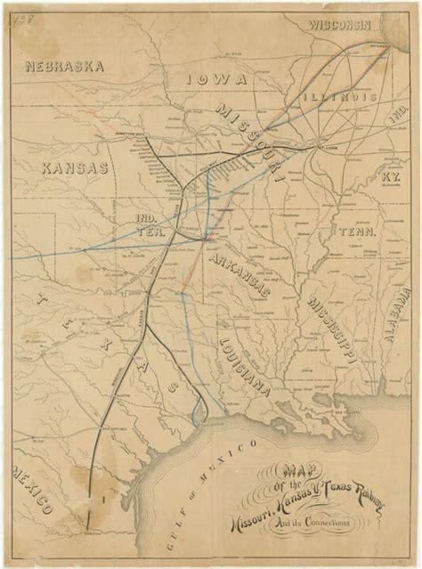 texas railway map hazardous business map missouri kansas texas railway 1875 texas state library tslac