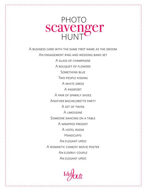 Non Cheesy Bachelorette Party Games Wedding Photo Scavenger Hunt Template