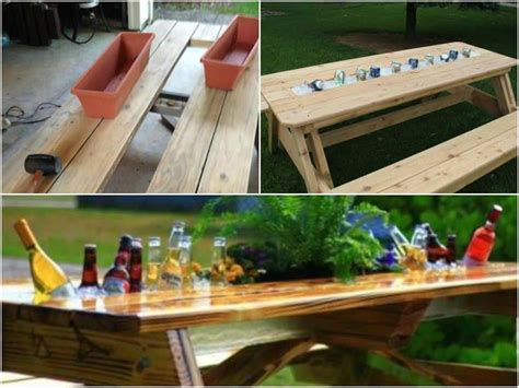 build  patio table   built  drink cooler