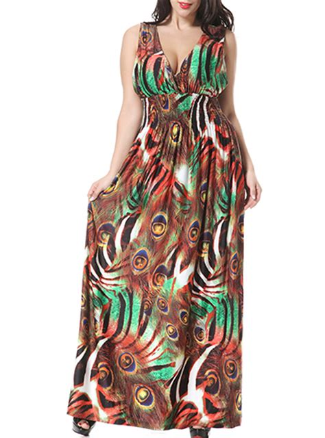 Big Size Leopard Print Dress M 6xl Av14 plus size sleeveless maxi dress animal print
