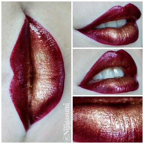 Ombre Lipstick Burgundy mix a burgundy lip and gold pigment mixed with clear gloss to create this ombre lip