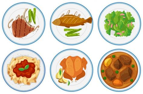 types of food different types of food on the plates illustration vector free