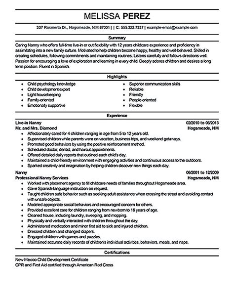 resume template nanny position nanny resume sle nanny resume exles are made for