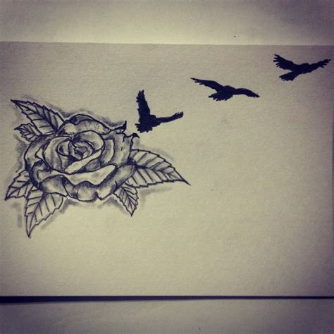 bird and rose tattoo bird sketch drawing ideas by