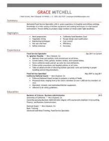 Exles Of Food Service Resumes by Food Service Specialist Resume Exles Customer Service Resume Exles Livecareer