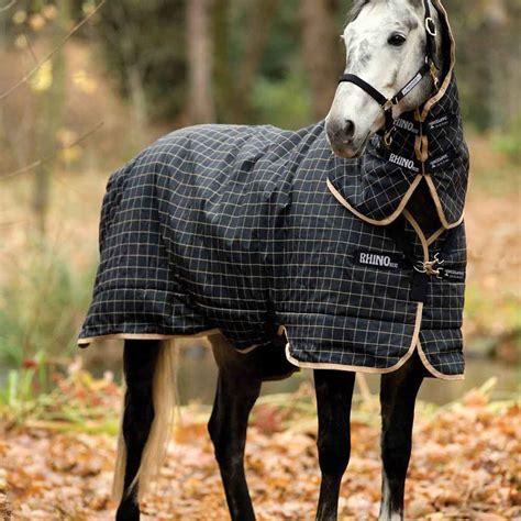 rhino rug rhino original medium plus turnout 1000d rug with neck 200g black redpost equestrian