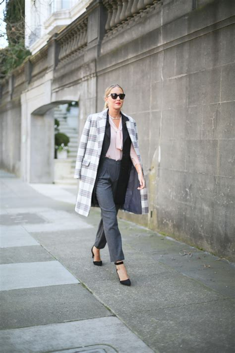 Of The Blogs Silver Plaid And The Wears Prada plaid coat high waisted grey wool blush tie neck