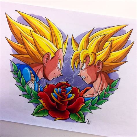 goku tattoo designs vegeta vs goku design by hamdoggz on deviantart