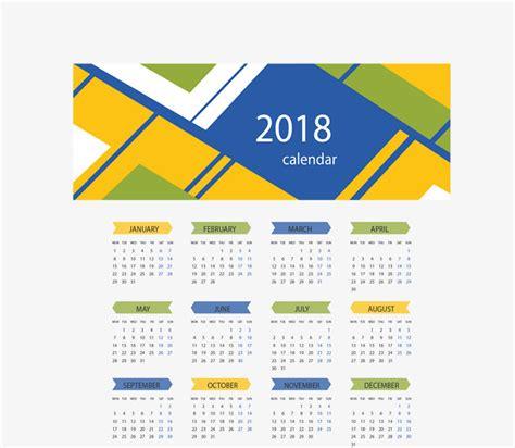 material design calendar vector yellow blue abstract background 2018 calendar vector