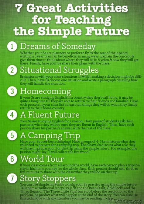 good themes english poster 7 great activities to teach the simple future