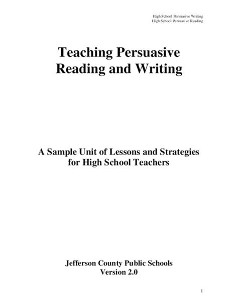 Teaching Persuasive Essay Writing by W 11 12 1 Persuasive Writing 11 12th Grade Ela Common Collection Lesson Planet