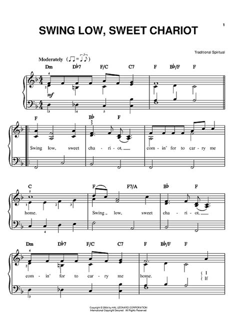 swing notes swing low sweet chariot sheet for piano and more