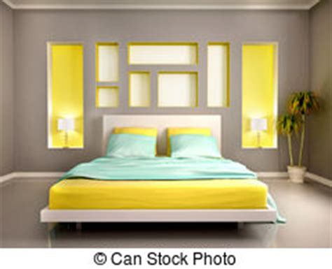 yellow  gray modern bedroom  double bed  niche